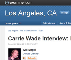 Los Angeles Examiner Interview with Carrie Wade